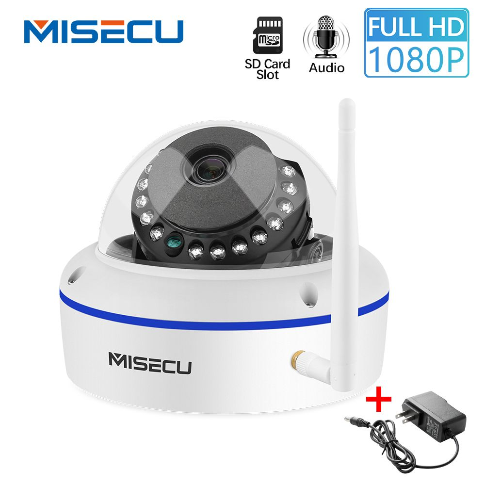 MISECU 1080P IP Kamera Vandal-proof WiFi Mit SD Card Slot Max 64GB ONVIF P2P Motion Erkennen alarm Dome Sicherheit Drahtlose Kamera