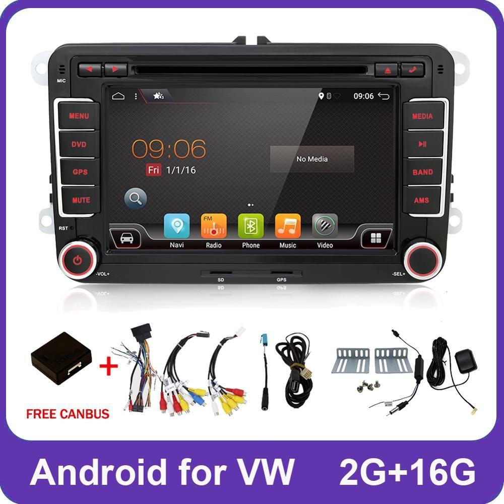 2 Din Quad Core android 8.1 lecteur dvd de voiture Aux gps stéréo pour Volkswagen Skoda POLO GOLF 5 6 PASSAT CC TIGUAN TOURAN Fabia Caddy