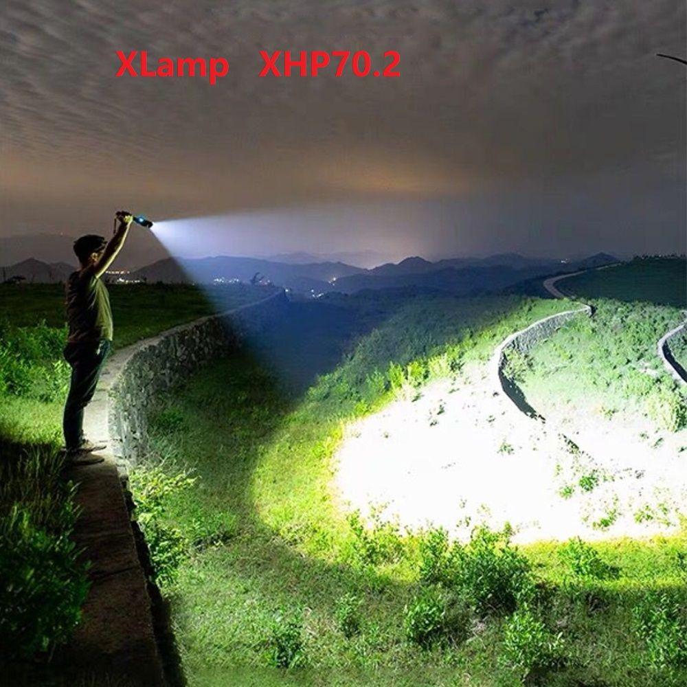 Lumens élevés XLamp xhp70.2 plus puissant lampe de poche LED usb Zoom torche xhp70 xhp50 18650 ou 26650 batterie Rechargeable chasse