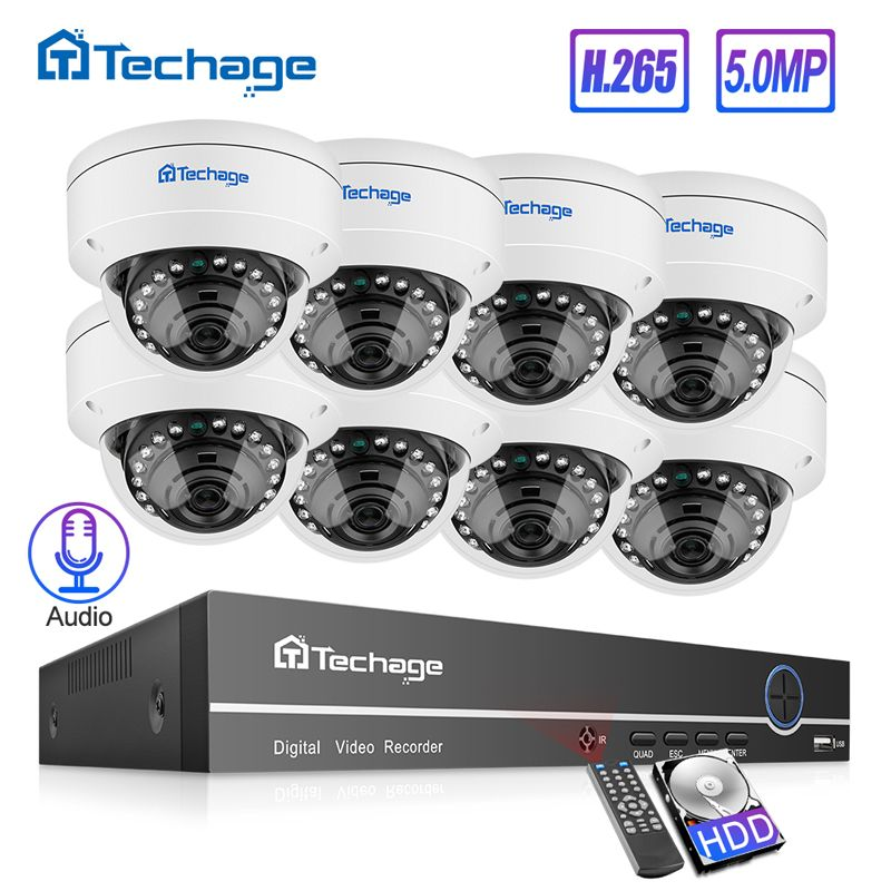 Techage H.265 8CH 5MP POE NVR CCTV System Vandalproof 5MP Indoor Dome IP Kamera Audio Record Sicherheit P2P Video Überwachung set