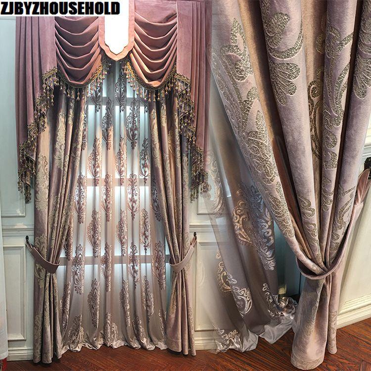 Rideaux de fenêtre en velours doré de haute qualité pour salon rideaux de fenêtre de couleur pourpre pour rideaux occultants de chambre à coucher en Tulle
