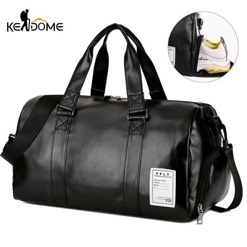 Gym Bag Leather Sports Bags Big Men Training Tas for Shoes Lady Fitness Yoga Travel Luggage Shoulder Black Sac De Sport XA512WD