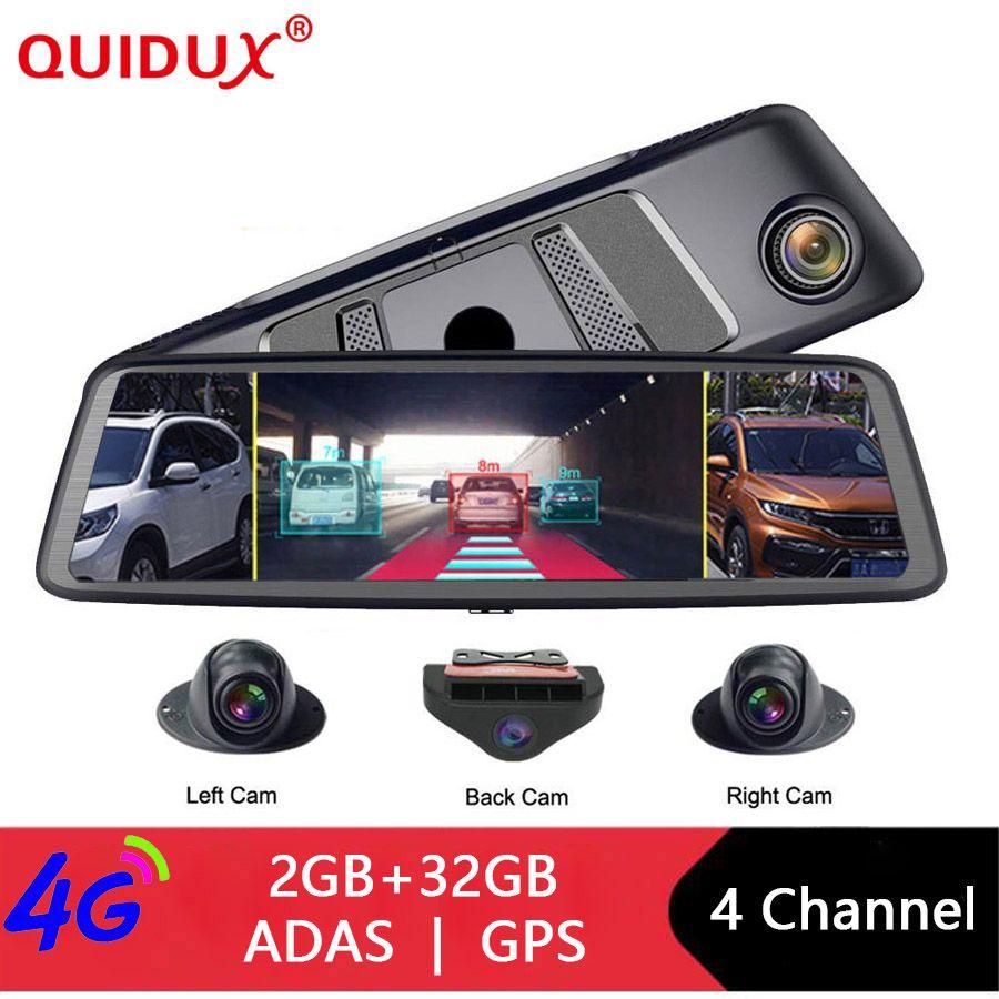 QUIDUX 2019 Auto DVR Kamera ADAS 4 Kanal Video Recorder Spiegel 4G 10 Media Rückspiegel 8 Core android Dash Cam FHD 1080P