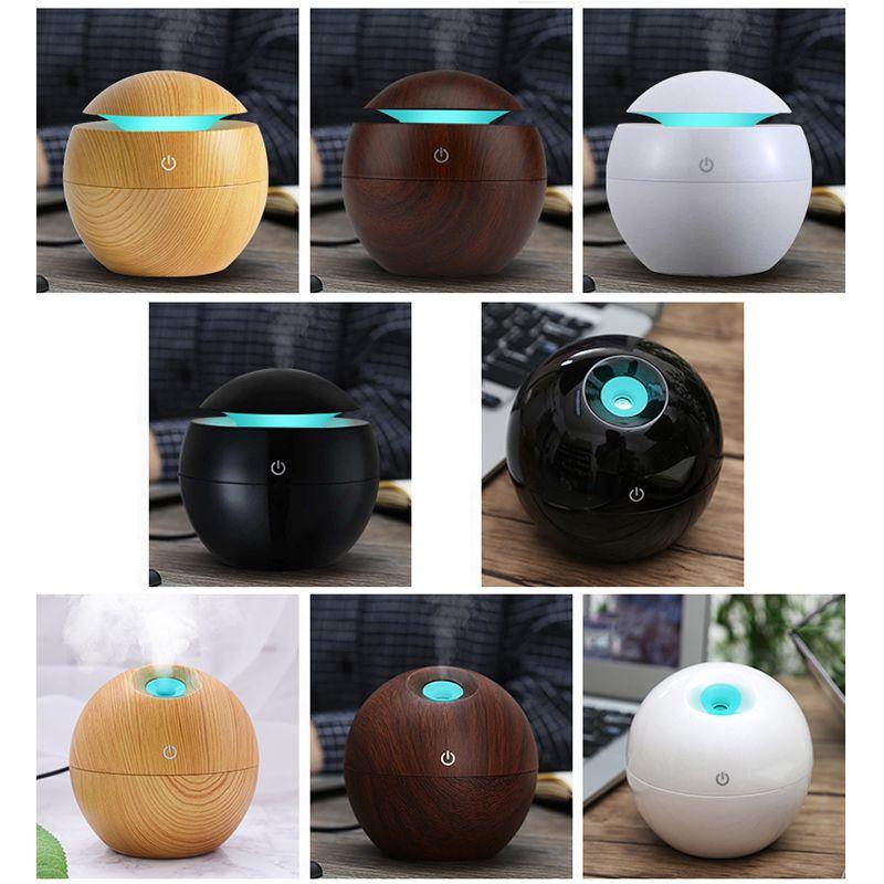 Mini humidificateur d'aromathérapie en bois diffuseur d'arôme diffuseur d'huile essentielle purificateur d'air LED à couleur changeante interrupteur tactile