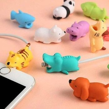 1 pcs Cable Bite Protector for Iphone cable Winder Phone holder Accessory chompers rabbit dog cat Animal doll model funny