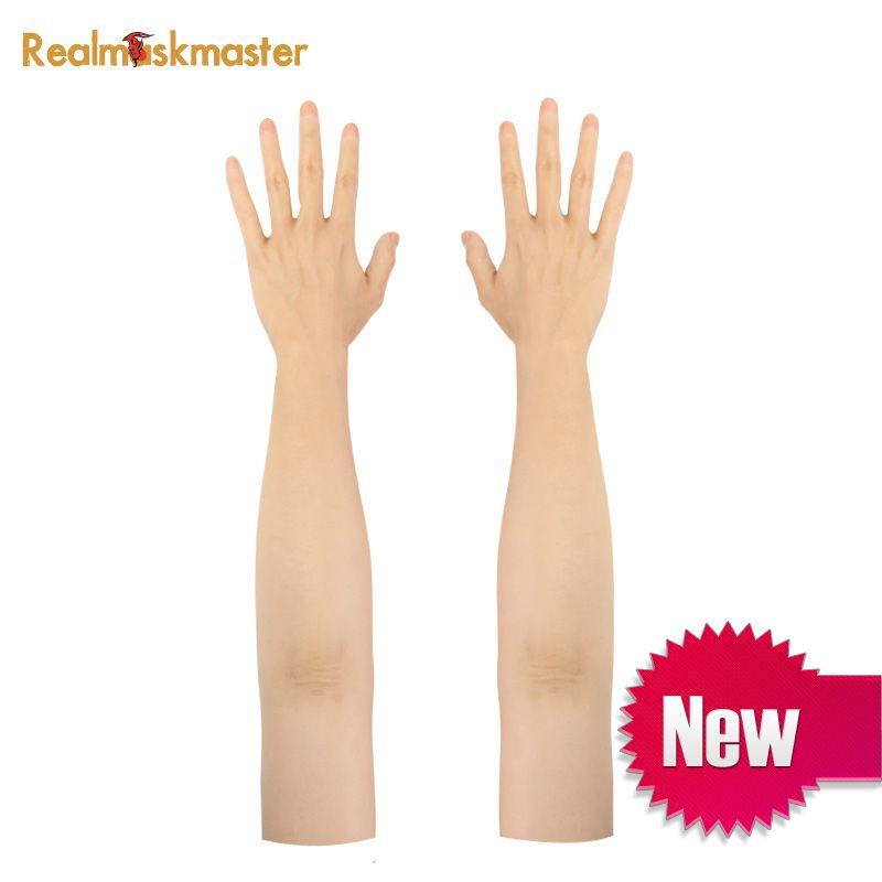 Silicone homme fait de haut niveau réaliste silicone gant femme peau artificielle réaliste faux mains crossdresser