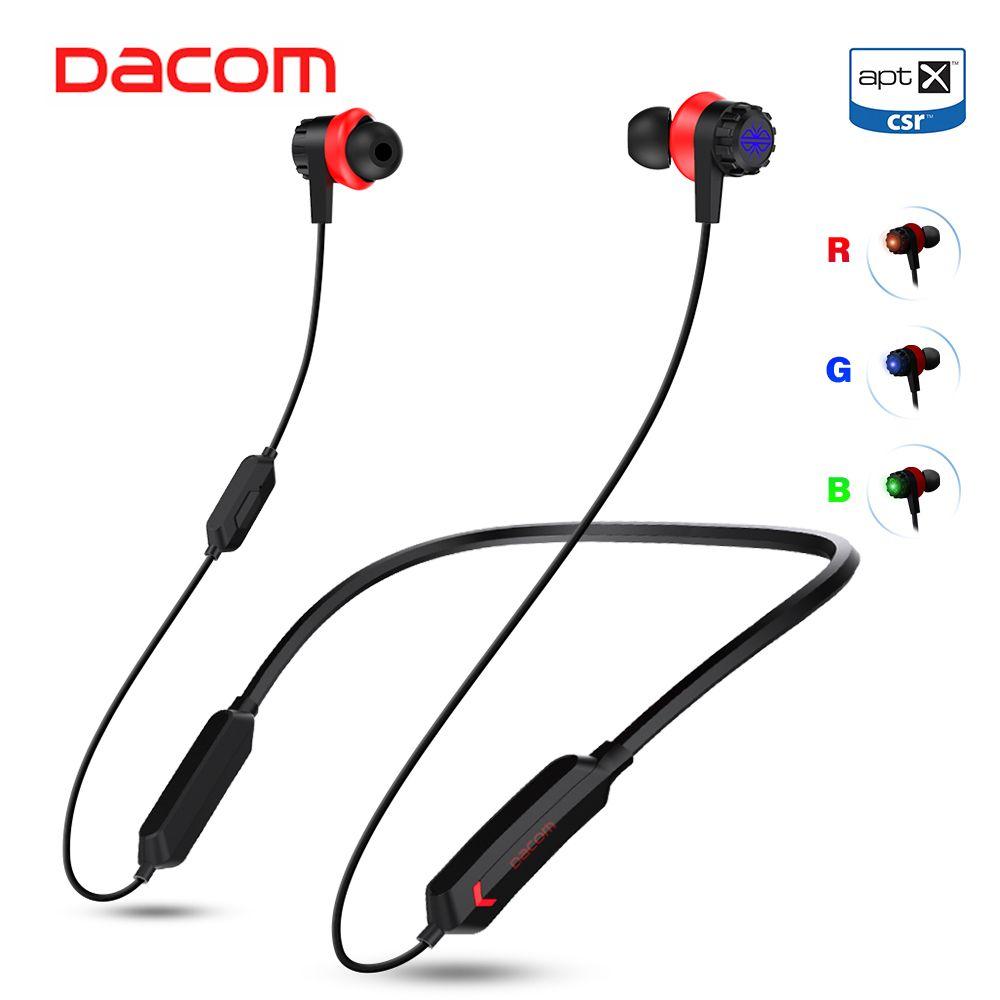 Dacom GH02 Gaming Bluetooth Headset Gamer APTX LL Super Bass Wireless Earphone Headphone with Mic RGB LED Light for Mobile Phone