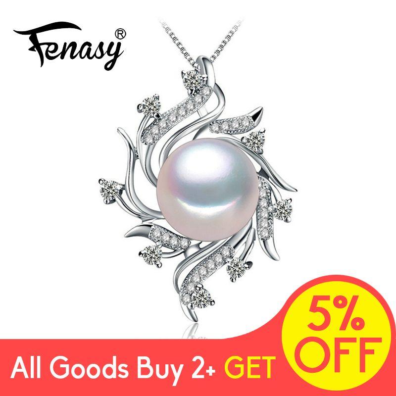 FENASY collier pendentif en forme de perle d'eau douce mode 925 argent Sterling Boho déclaration fleur chaîne collier bijoux en perles