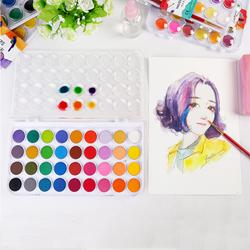 12/24/36 Colors Professional Solid Watercolor Paints Paint Box with Paintbrush Bright Color Portable Watercolor Pigment Set