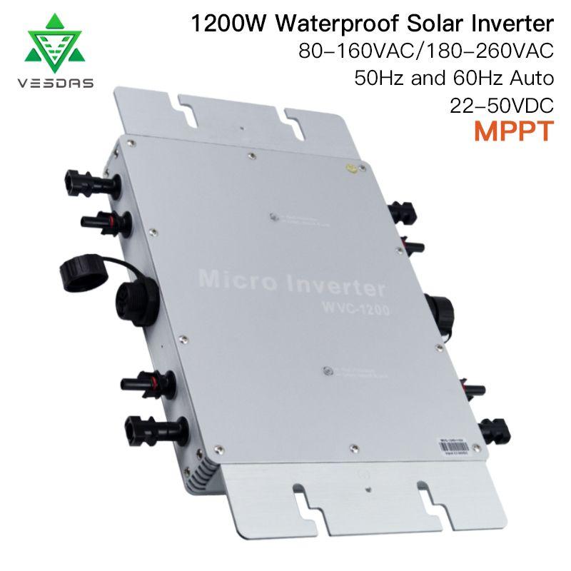 IP65 auf Grid Tie Inverter 1200W MPPT Smart Micro Solar inverter reine sinus welle inverter Board DC 22- 50V zu 80-260VAC für Solar