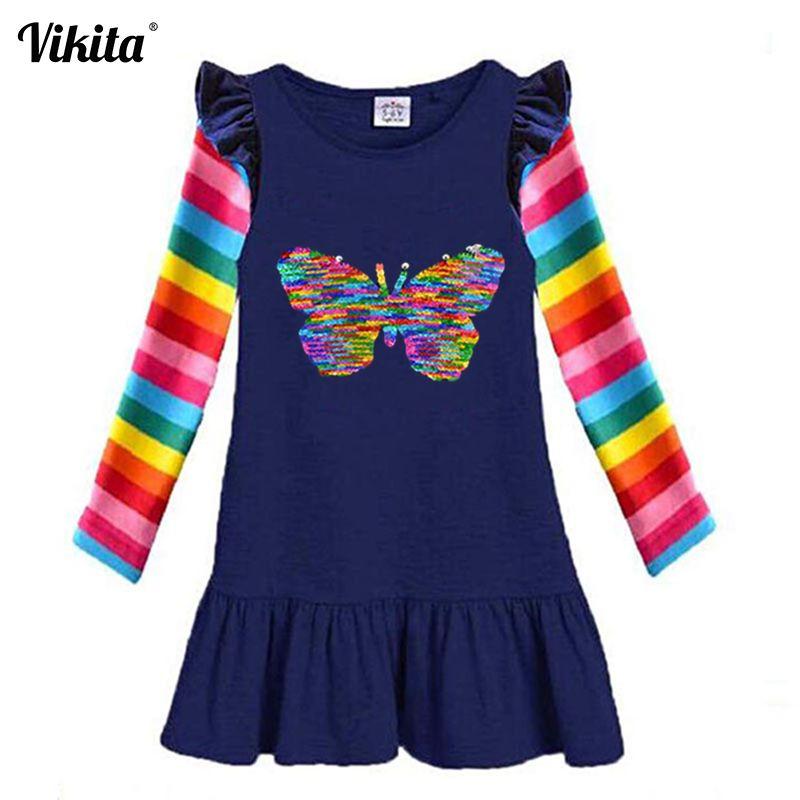 VIKITA Girls Kids Dress Children Cotton Vestidos Toddlers Long Sleeve Rainbow Dress Girl Autumn Winter Sequins Dresses 2-8 Years