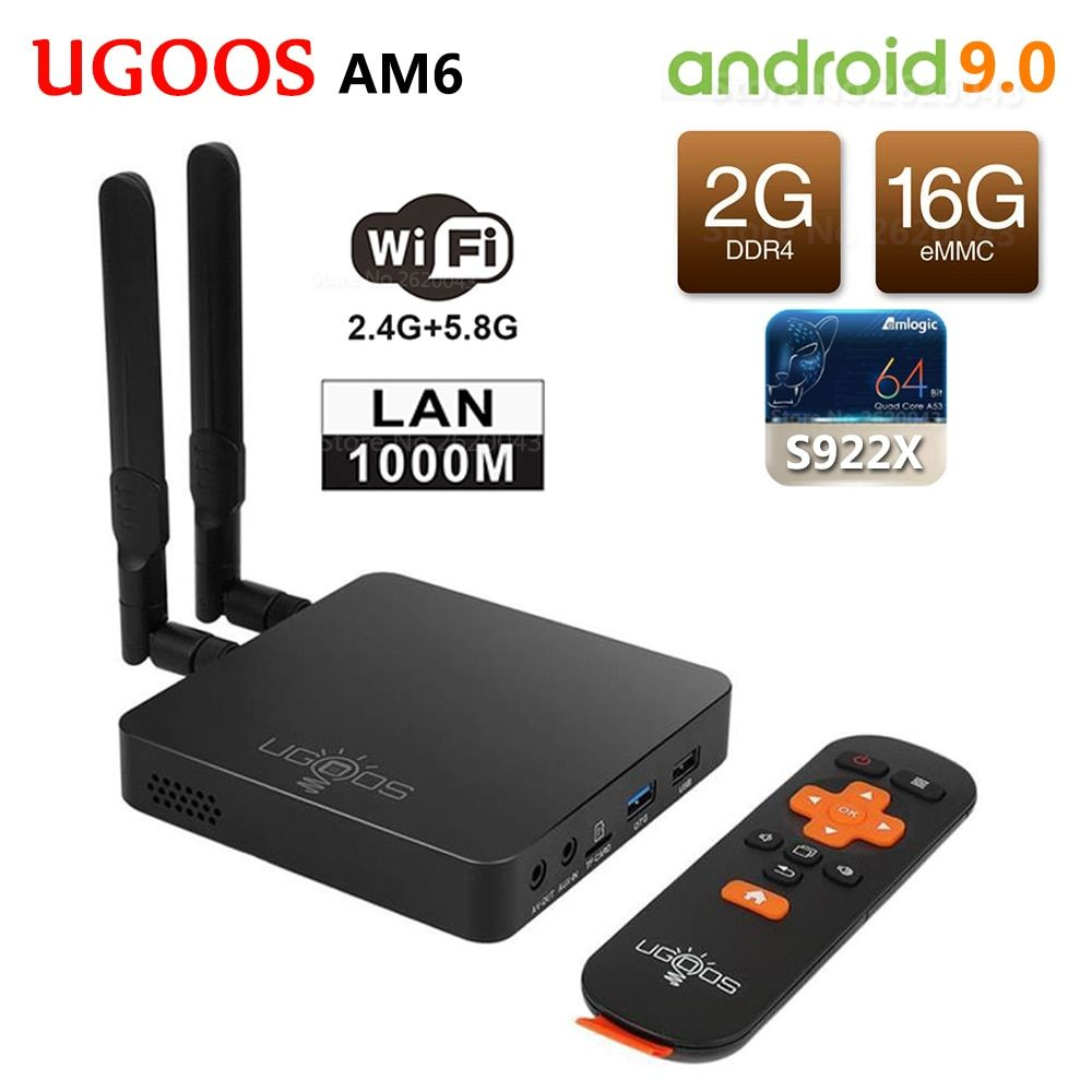 UGOOS AM6 Amlogic S922X Smart Android 9.0 TV Box DDR4 2 GB RAM 16 GB ROM 2.4G 5G WiFi 1000 M LAN Bluetooth 5.0 4 K HD lecteur multimédia