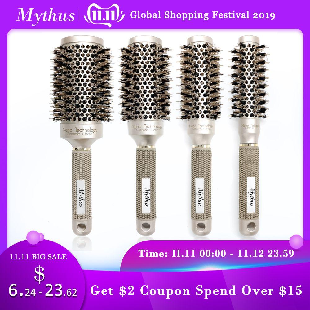 Mythus professionnel Nano technologie céramique ionique cheveux brosse ronde poils de sanglier antistatique résistant à la chaleur brosses à friser les cheveux