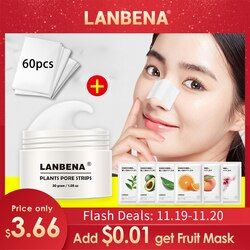 LANBENA Blackhead Remover Nose Mask Pore Strip Black Mask Peeling Acne Treatment Deep Cleansing Face Mask Oil Control Skin Care