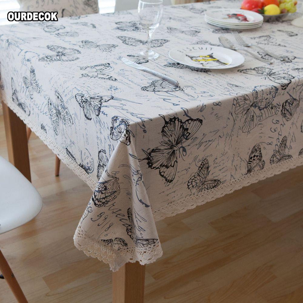Nappes en lin pastorale nappe papillon impression Table à manger couverture cuisine Textile maison décor à la maison toalha De Mesa marque