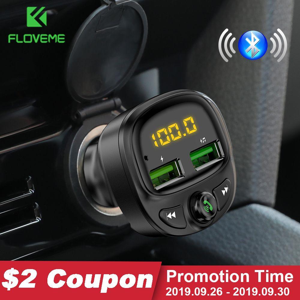 FLOVEME USB Chargeur de voiture pour téléphone sans fil rapide Bluetooth Fm transmetteur mains libres Chargeur Chargeur MP3 TF carte musique voiture Kit