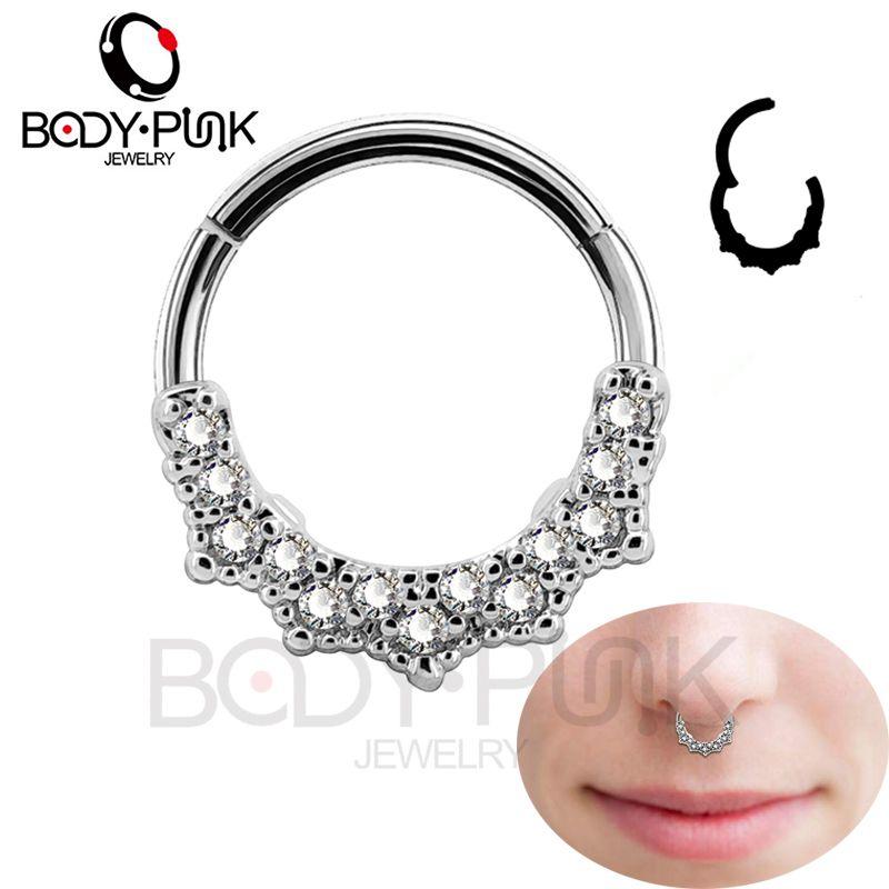 Corps PUNK 16G Cartilage boucles d'oreilles nez Septum piercing Segment Clicker Daith clair CZ Tragus Helix goujon conque corps bijoux femmes