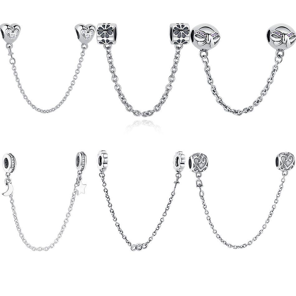 ELESHE authentique 925 argent Sterling Daisy Bow coeur chaîne de sécurité breloque à perles bracelet à breloques Pandora Original fabrication de bijoux