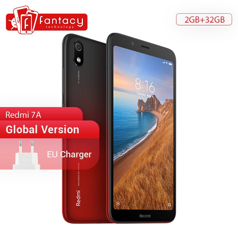 Version mondiale en Stock Xiaomi Redmi 7A 7 A 2GB 32GB 5.45 Snapdargon 439 Octa core téléphone portable 12MP caméra 4000mAh Smartphone