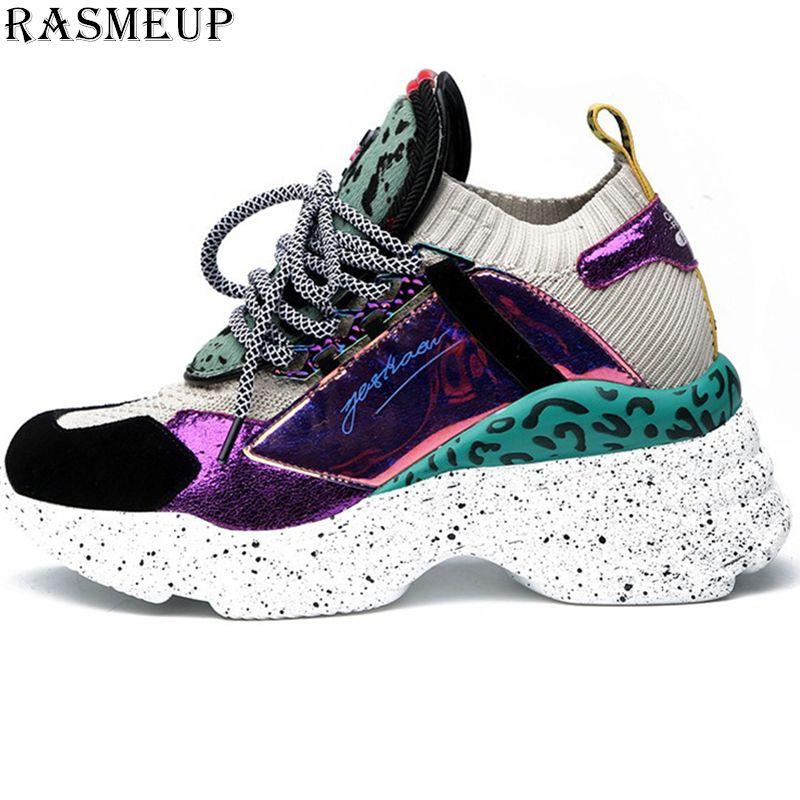 RASMEUP véritable cuir maille femmes baskets plates 2019 marque de mode respirant femmes chaussures décontracté confortable femme formateurs