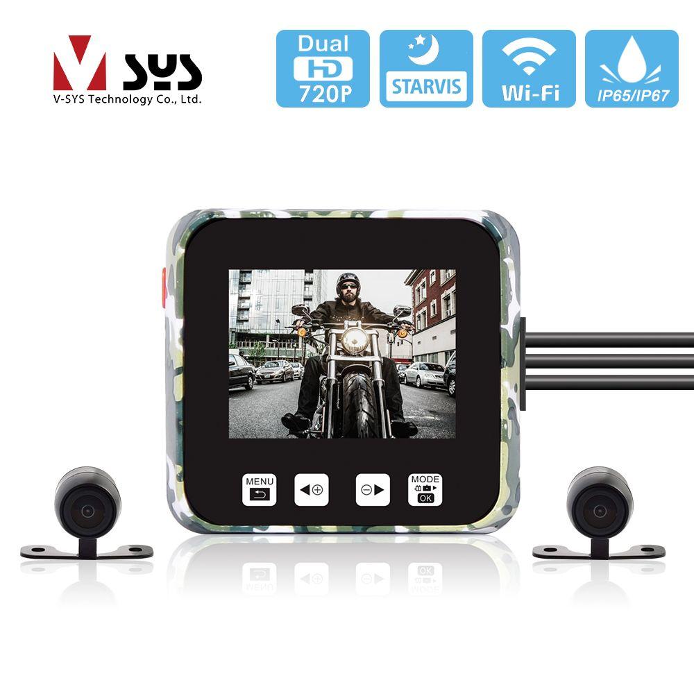SYS VSYS E6 WiFi moto caméra enregistreur DVR HD 720P Super Vision nocturne double lentille étanche tableau de bord caméra pour Scooter ATV UTV
