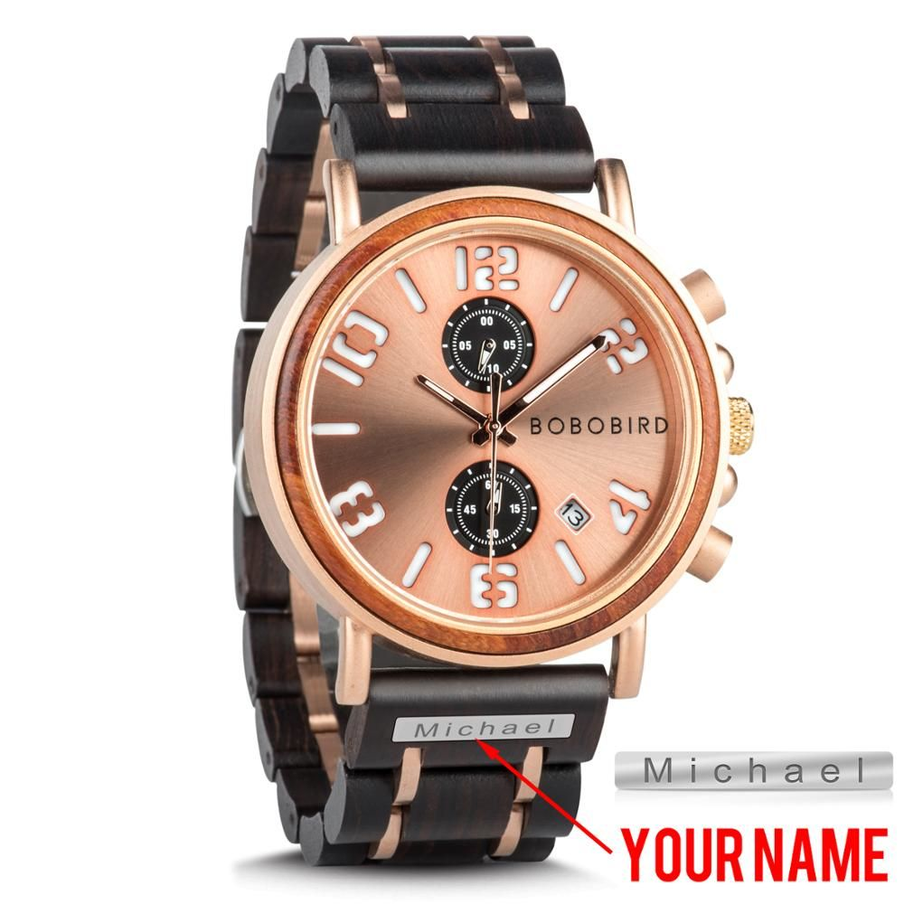 BOBO BIRD Customized Name Men's Watches Wood Stainless Steel Band Luxury Style Luminous Waterproof Quartz watches reloj hombre