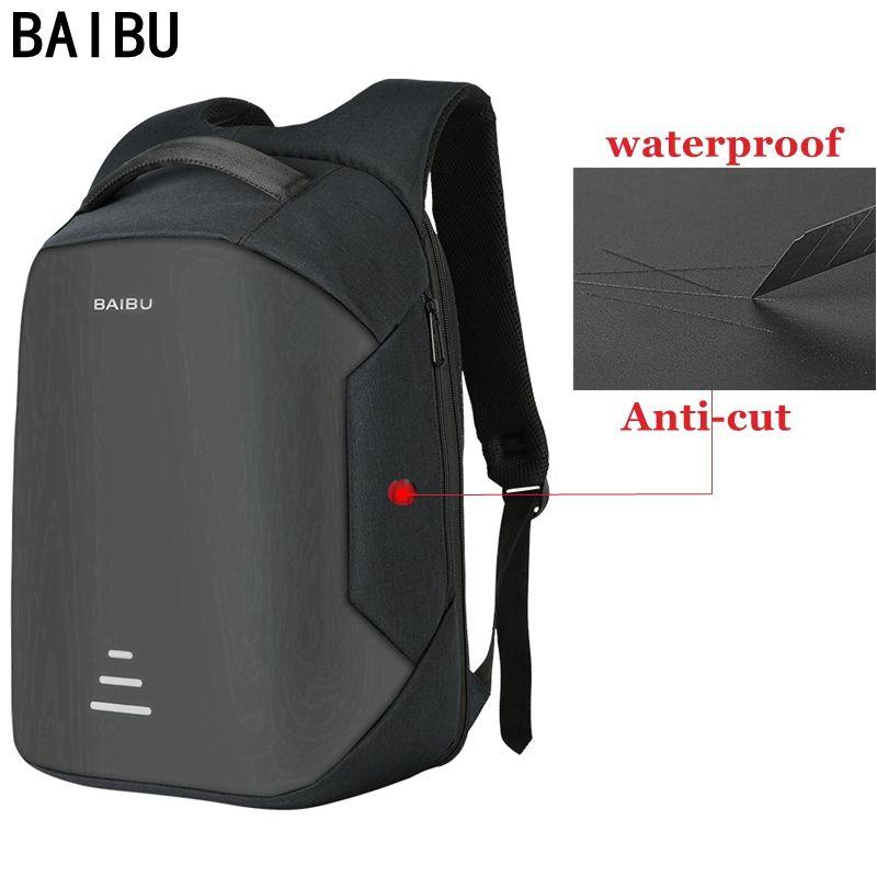 BAIBU nouveau hommes 15.6 sac à dos pour ordinateur portable Anti-vol sac à dos Usb charge femmes école cahier sac Oxford étanche voyage sac à dos