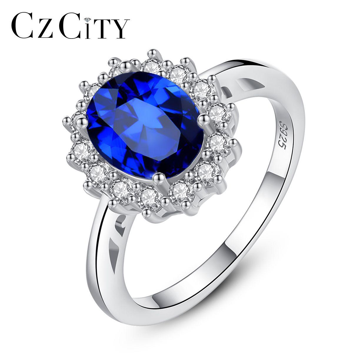 CZCITY princesse Diana William Kate pierres précieuses anneaux saphir bleu de fiançailles de mariage 925 bague en argent Sterling pour les femmes