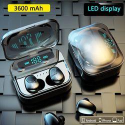 Sentuh Tws Benar Earbud Nirkabel Bluetooth Earphone Mini Tws Tahan Air Headfrees dengan 3600 MAh Power Bank untuk Semua Ponsel