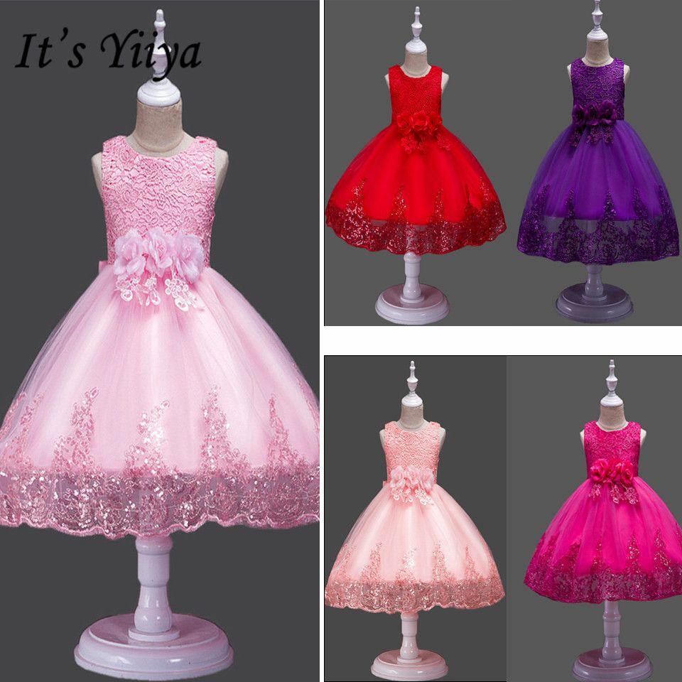 C'est YiiYa robe de demoiselle d'honneur nœud dentelle première Communion robes pour filles élégant sans manches paillettes de noël robes de bal 575
