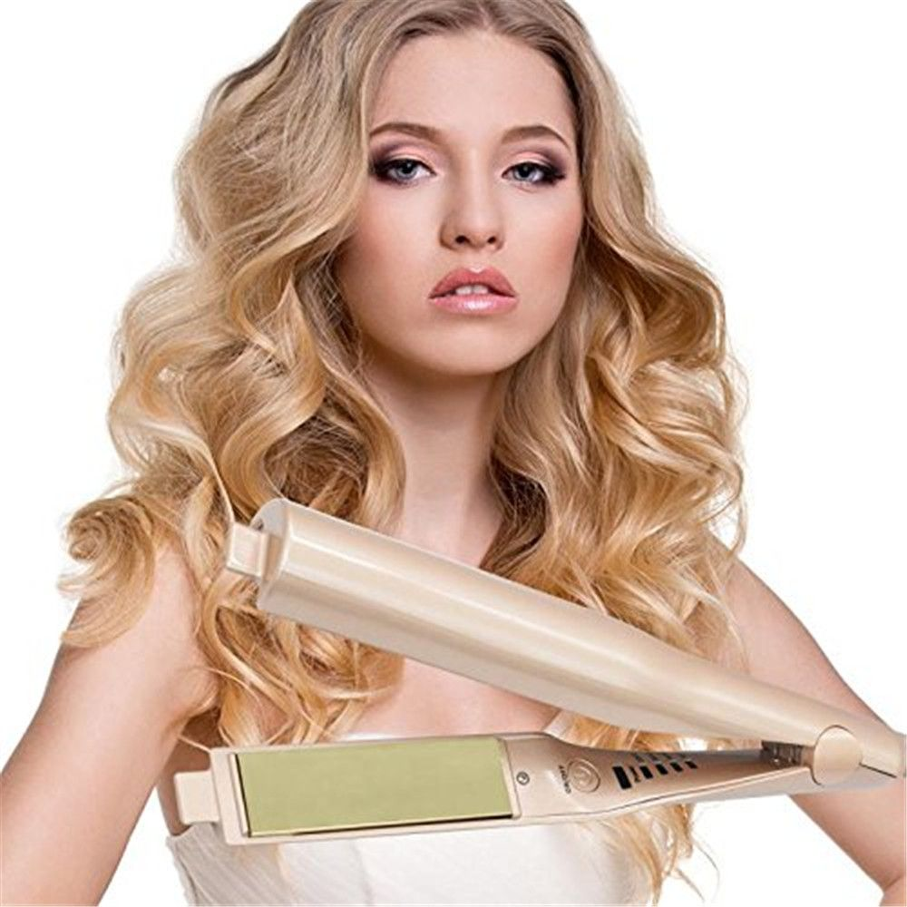 2 in 1 Pro Ceramic Corn Roller Magic Hair Curler hair wand Hair Straightener Style Straightening Flat Iron Hair Styling Tool