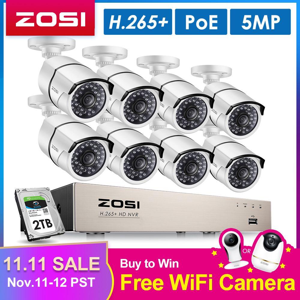 ZOSI H.265 8CH 5MP POE Sicherheit Kamera System Kit 8PCS 5MP Super HD IP Kamera Im Freien Wasserdichte CCTV Video überwachung NVR Set