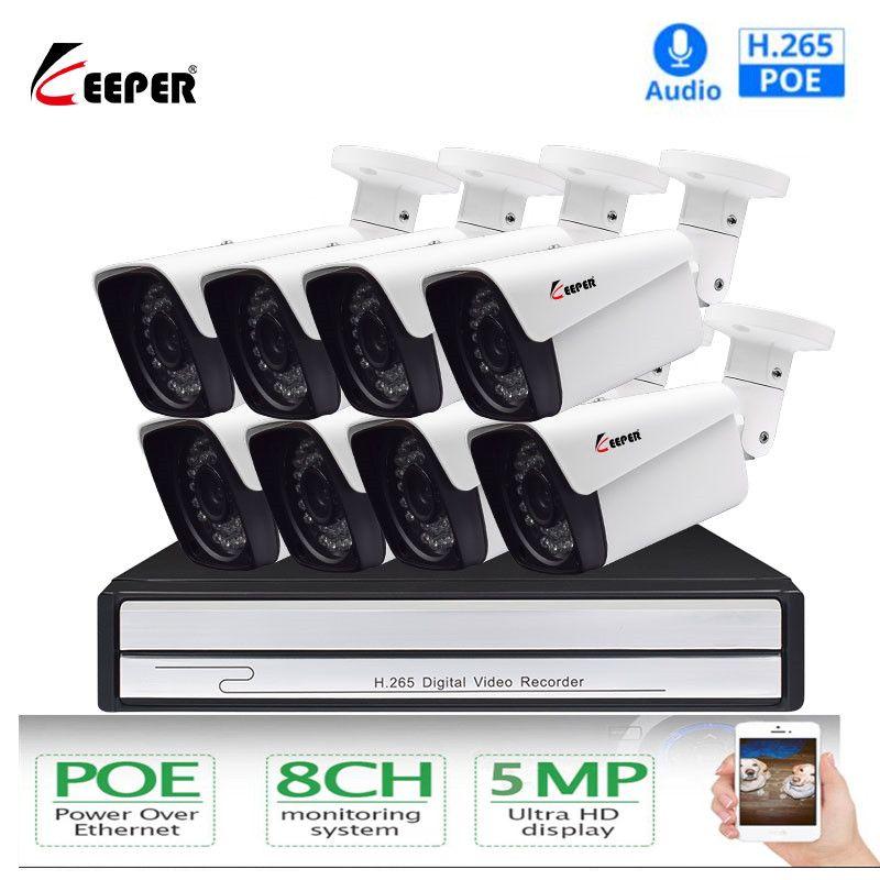 Keeper H.265 8ch 5MP POE kamera Kit System CCTV Sicherheit mit 8 stücke Outdoor IP Kamera Audio Record Surveillance NVR kitt