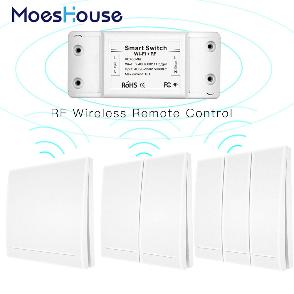RF Wifi Wireless Remote Control Smart Switch Wall Panel Transmitter Smart Life/Tuya APP ,Works with Alexa Google Home 433Mhz