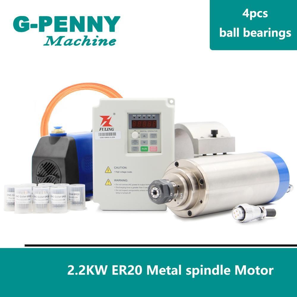 Hohe Qualität! 2.2kw ER20 800Hz Pole = 4 Metall Spindel wasser gekühlt spindel motor 0-1000hz inverter 85mm halterung mit 75w wasserpumpe