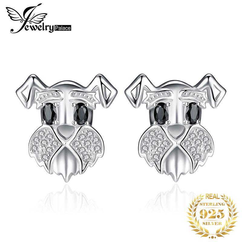 Schnauzer chien véritable noir spinelle boucles d'oreilles 925 en argent Sterling boucles d'oreilles pour femmes Gem coréen boucles d'oreilles mode bijoux 2019