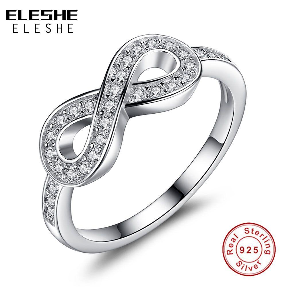 ELESHE Original 925 en argent Sterling 8-en forme de Bowknot Infinity bagues Micro CZ cristal anneaux pour les femmes bijoux de mariage cadeau