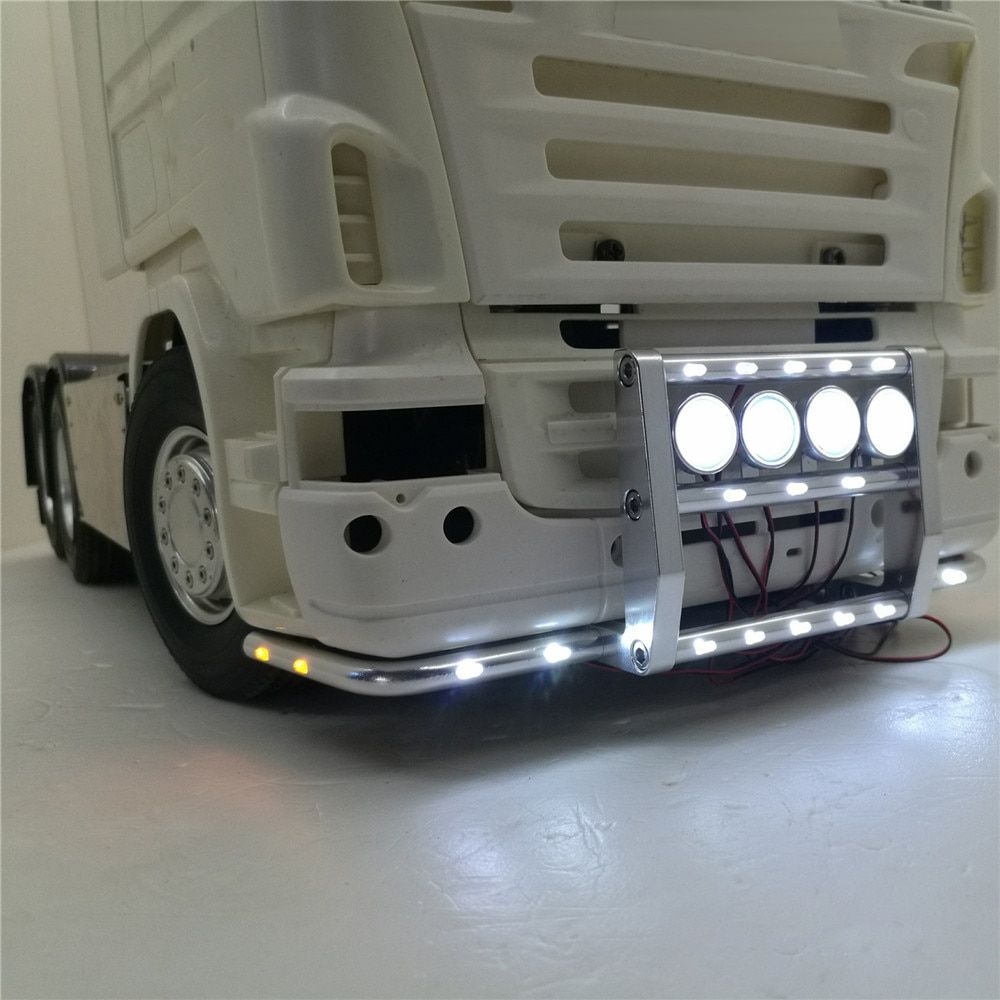 Frontschürze mit 22 Lichter Für Tamiya 1:14 Scania Serie Traktor 620 56323 730 Front Stoßstange RC Lkw Teile