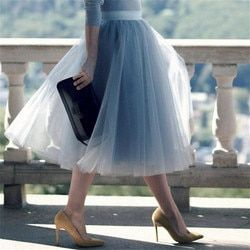 5 Layers 60cm Princess Midi Tulle Skirt Pleated Dance Tutu Skirts Womens Lolita Petticoat Jupe Saia faldas Party Puffy Skirts
