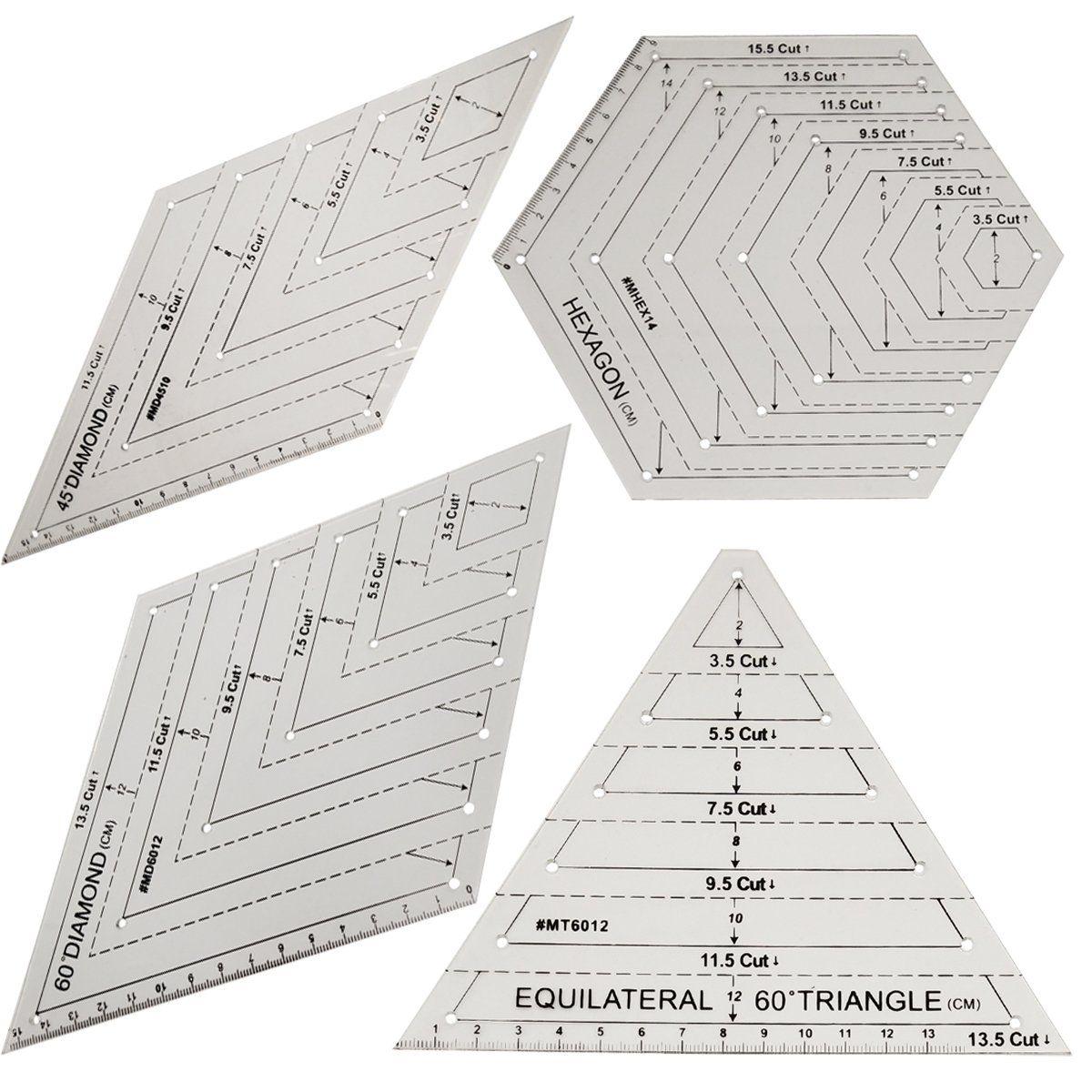 Règle de Patchwork règle de Quilting règles acryliques transparentes de haute qualité règles de coupe de tissu de bâton bricolage outils de couture 4 pièces