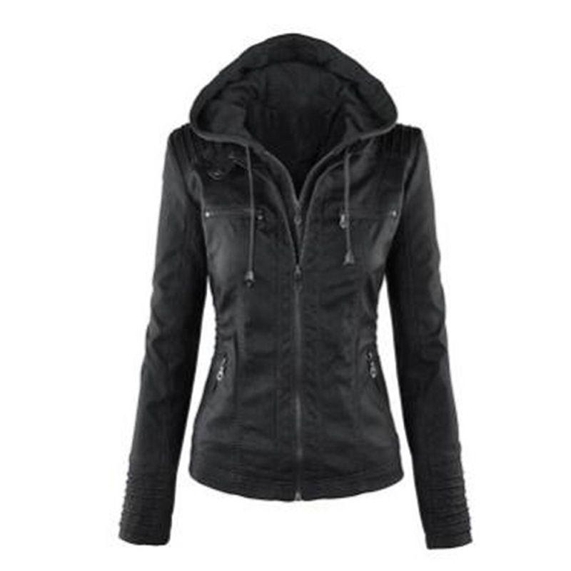 Gothic faux leather Jacket Women hoodies Winter Autumn Motorcycle Jacket Black Outerwear faux leather PU Jacket 2019 Coat HOT