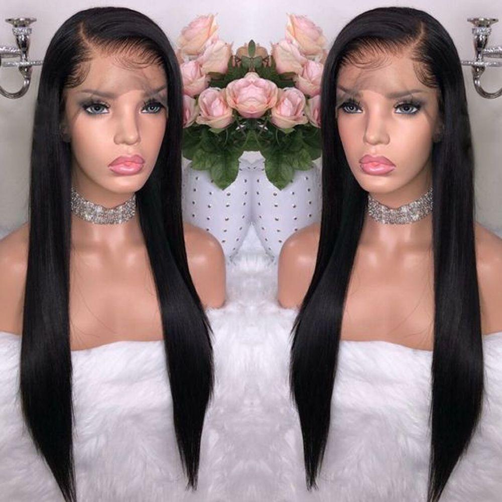 Perruques brésiliennes sans colle de cheveux de noeuds blanchis perruques d'avant de dentelle de cheveux de saphir