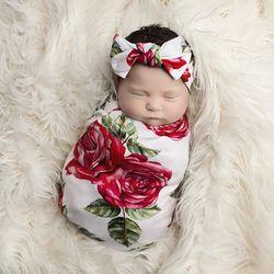 Mawar Merah Bunga Bayi Swaddle Set Selimut Bayi Headband Kain Kasa Membedung Bayi Yang Baru Lahir Tidur Membedung Wrap