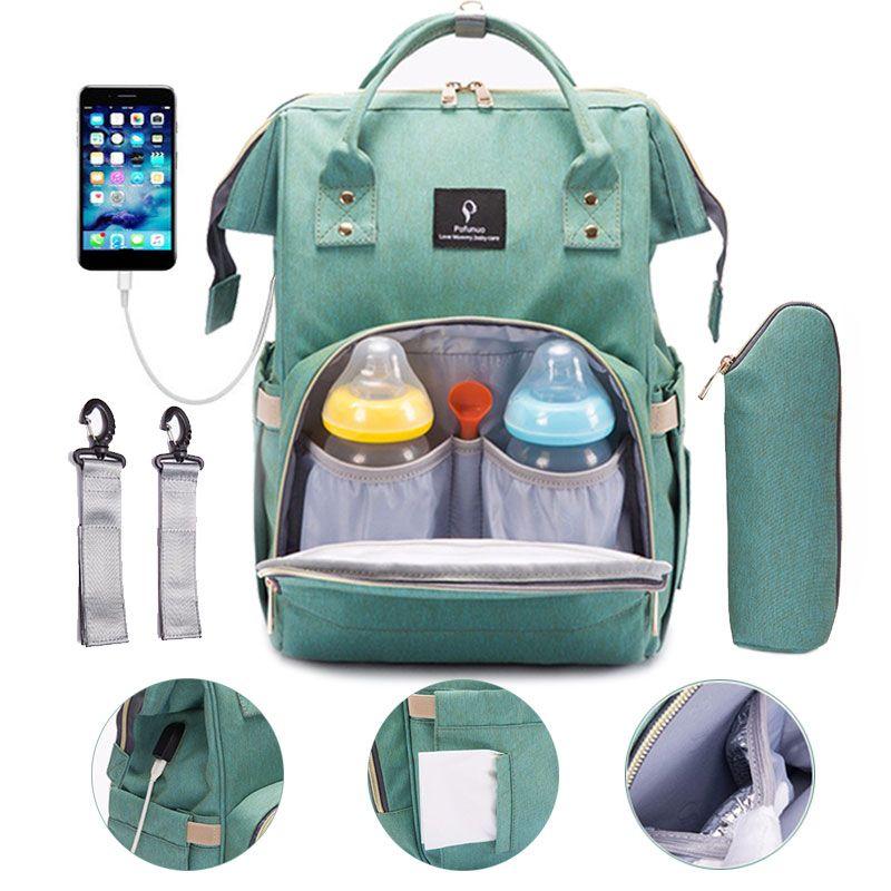 Sac à couches avec Interface USB grande capacité voyage sac à dos soins infirmiers sac à main imperméable sac à couches Kits momie maternité bébé sac