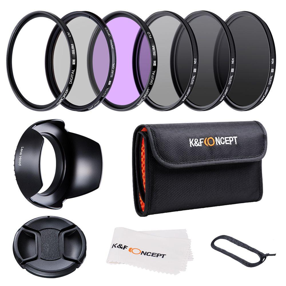 K & F CONCEPT 52/58/62/67/72/77mm UV CPL FLD ND2 ND4 ND8 Kit de filtres d'objectif avec 4 cadeaux pour Nikon Canon Sony Tamron