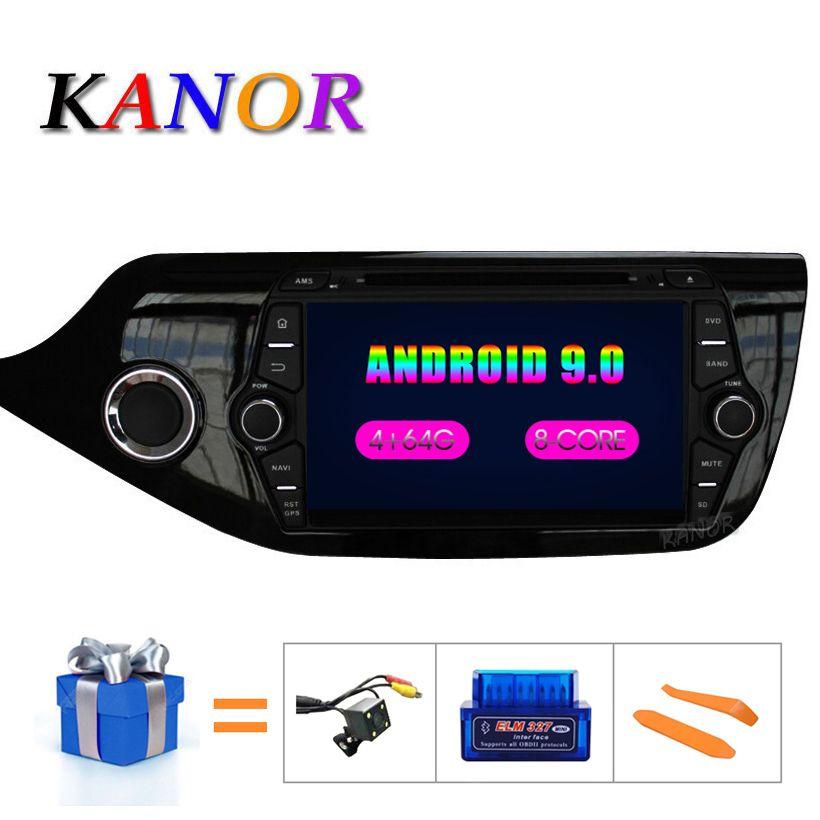 KANOR Android 9.0 IPS Octa core 4 + 32g lecteur multimédia de voiture pour KIA Ceed 2013 2014 2015 Radio Audio Headunit 2din Radio Android Autoradio