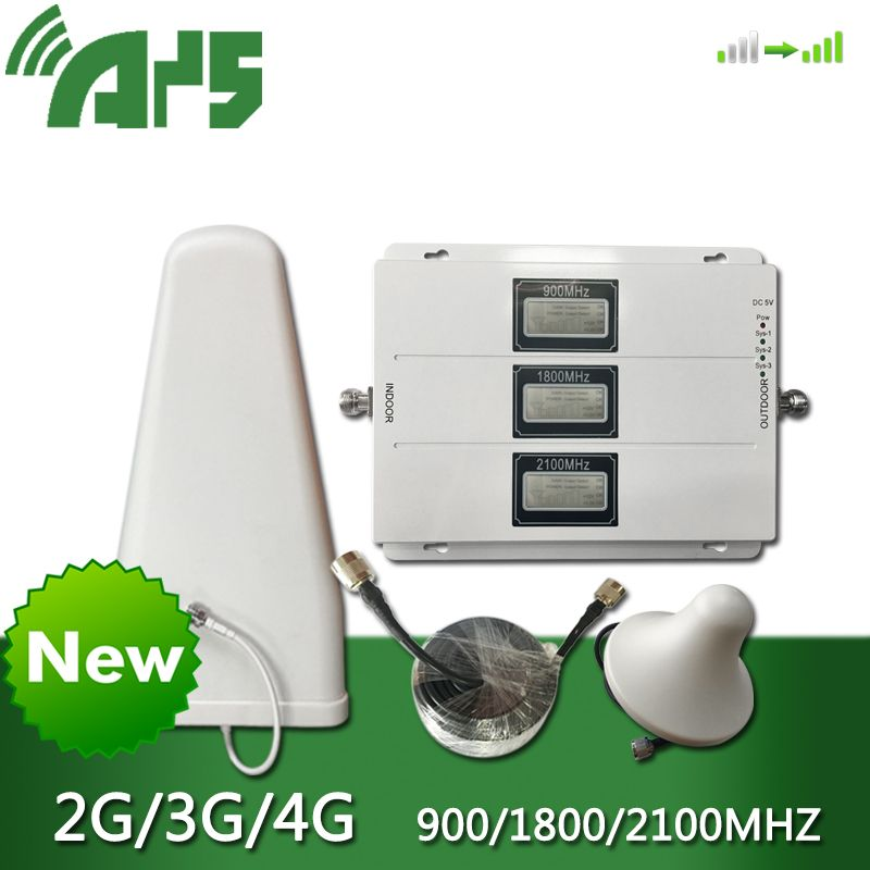 900 1800 2100 Gain 70dB Tri Band Handy Signal Booster Repeater GSM DCS LTE WCDMA UMTS MHz mit AGC ALC 2G 3G 4G Verstärker