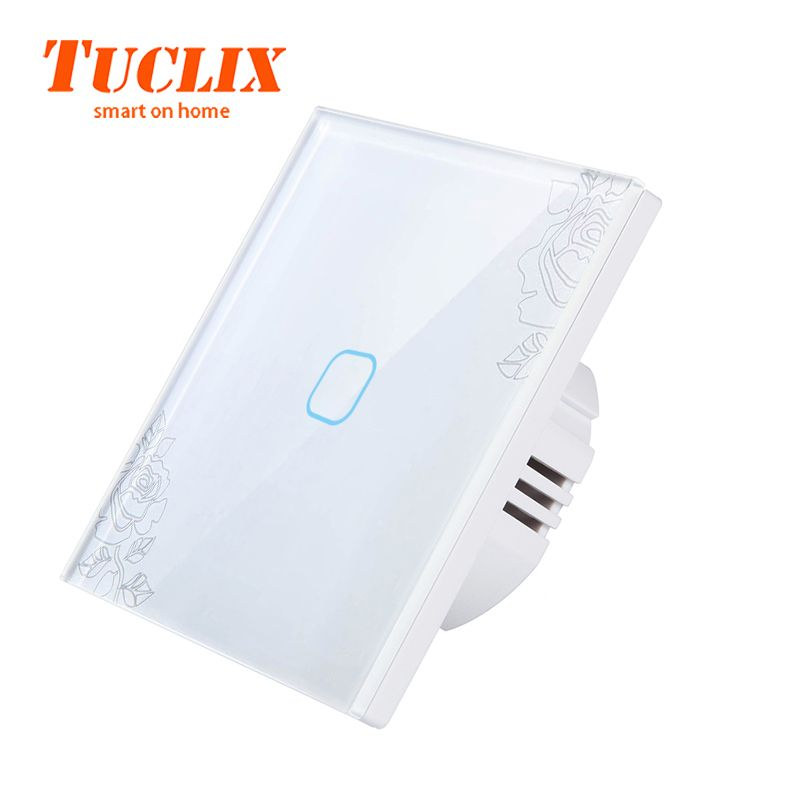 TUCLIX EU/UK 110-240V 1/2/3 Gang 1Way Wall Touch Switch LED Lamp Touch Screen Switch Glass Panel Switch