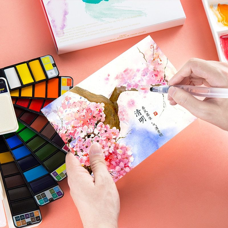 Dropshipping Superior 42colors Solid Watercolor Paint Set With Water Brush Pen Portable Water Color Pigment For Drawing