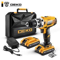 DEKO GCD18DU2 Electric Screwdriver Cordless Drill Wireless Power Driver 18-Volt DC Lithium-Ion Battery 1/2-Inch 2-Speed